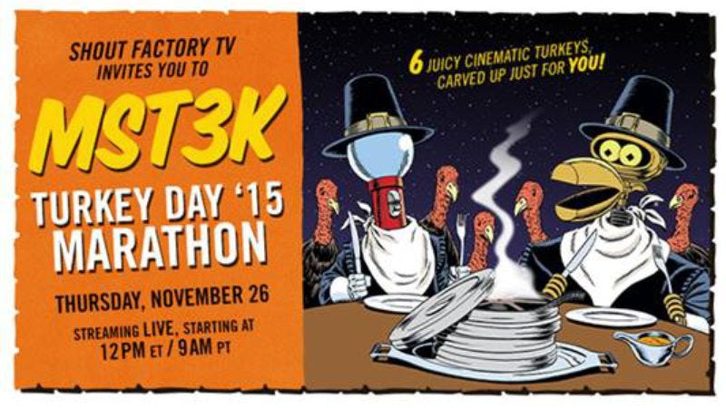 Illustration for article titled Here's where to tune in to this year's MST3K Turkey Day