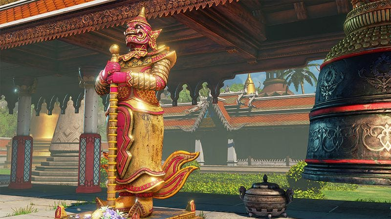 "Street Fighter V's new ""Thailand Temple Hideout"" stage. Screenshot: Capcom"