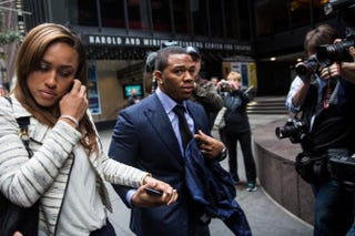 Then-suspended Baltimore Ravens football player Ray Rice and his wife, Janay Palmer, arrive for a hearing on Nov. 5, 2014, in New York City.Andrew Burton/Getty Images