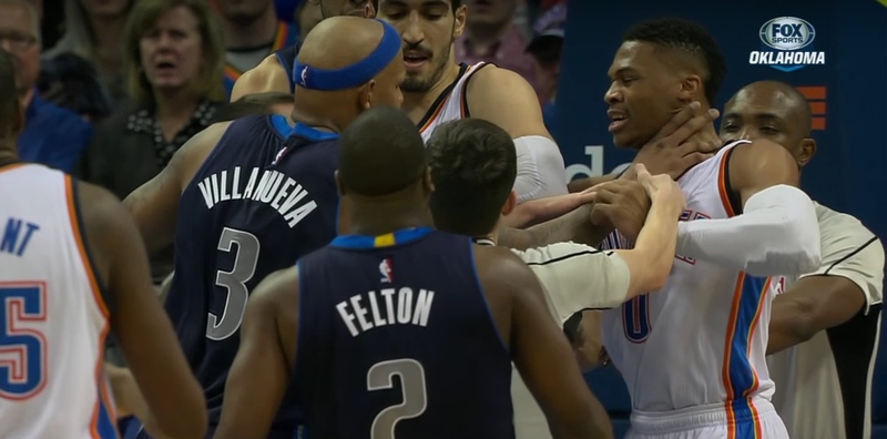 Illustration for article titled Russell Westbrook Ejected As Thunder And Mavs Get Into It