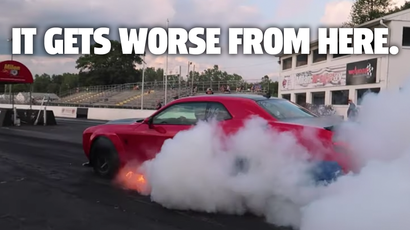 Illustration for article titled Dodge Demon Burns At Race Track Because Everyone's A Dick
