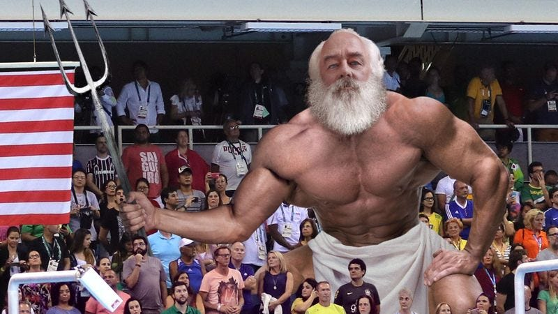 Illustration for article titled Michael Phelps Spots Estranged Father Poseidon In Stands