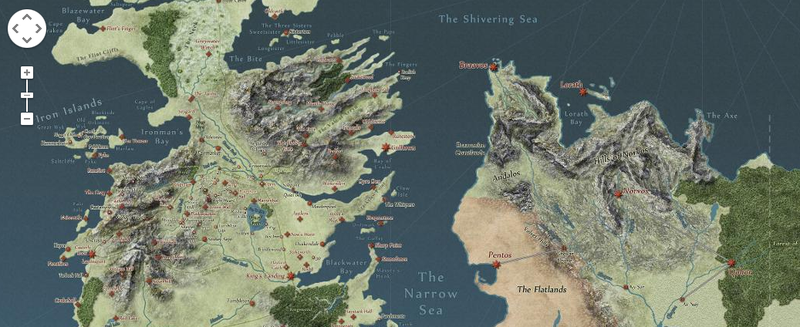 Illustration for article titled Explore the World of Game of Thrones as if It Were on Google Maps