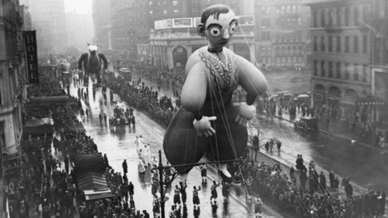 """Illustration for article titled """"Look kids, it's Eddie Cantor!"""": 12 obscure Macy's Thanksgiving Day Parade balloons from years past"""