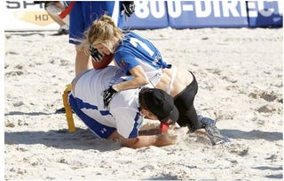 Illustration for article titled Marisa Miller Was Also Wearing A Jockstrap During The Beach Football Game