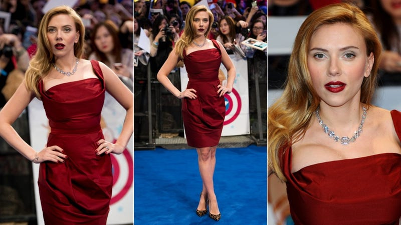 Illustration for article titled Scarlett Johansson Scorches the Earth at the Winter Soldier Premiere
