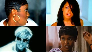 Top row: Missy Elliott; Aaliyah. Bottom row: Mary J. Blige; Nia Long.YouTube screenshots