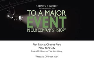 """Illustration for article titled Barnes & Noble """"Major Event"""" Next Tuesday"""
