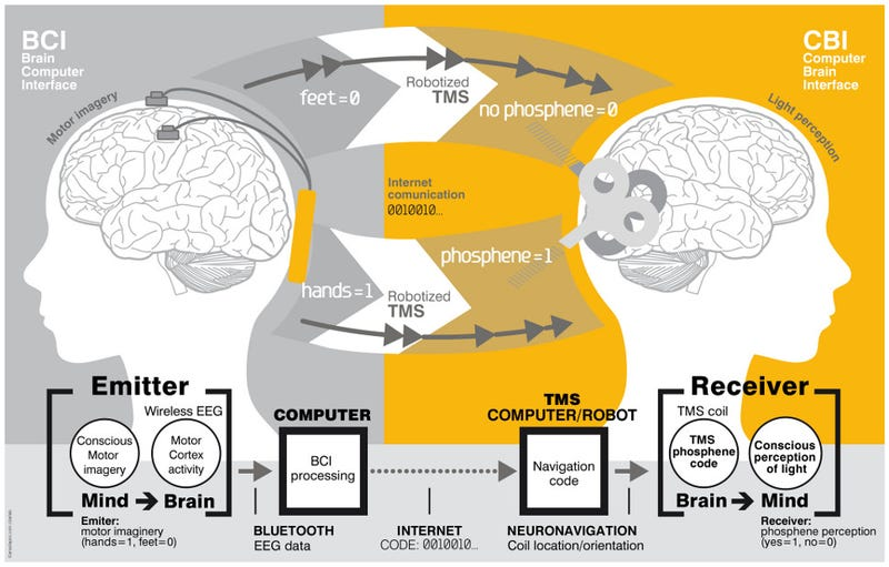 Illustration for article titled The First Successful Demonstration Of Brain-To-Brain Communication In Humans