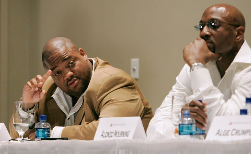 Jason Whitlock and former NBA All-Star Alonzo Mourning  during a panel discussion about the black athlete at Morehouse College in Atlanta on May 7, 2007. (John Amis/AP Photo)