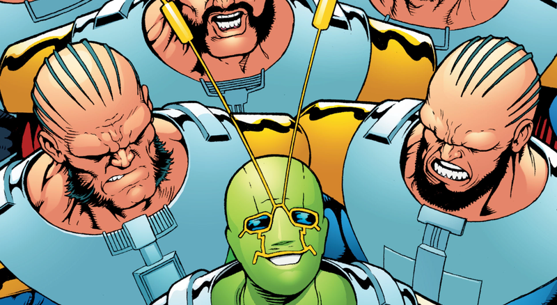 A crowd of Monitors aren't at all happy to see Ambush Bug on the cover of Ambush Bug: Year None #5.