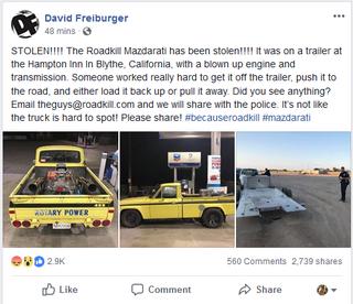 Illustration for article titled Roadkill 'Mazdarati' Stolen in CA