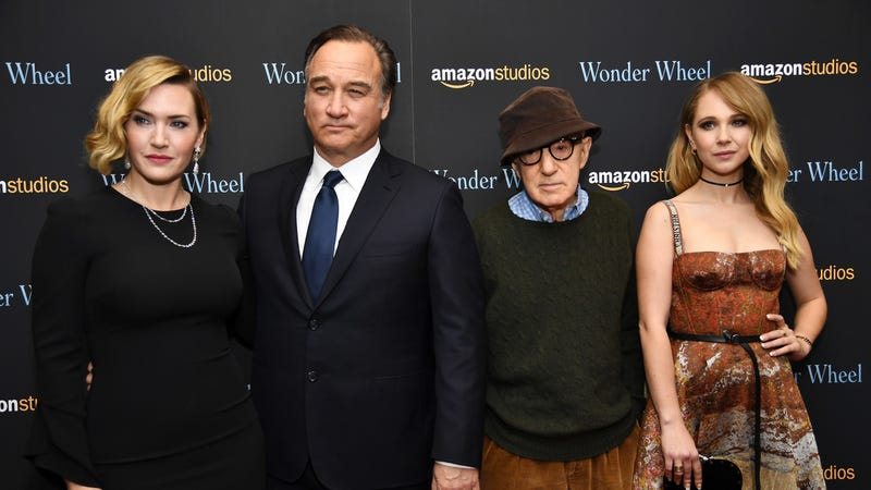 """Woody Allen with cast members from """"Wonder Wheel"""" at a November screening. Image via Getty."""