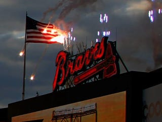 Illustration for article titled The Braves Set The American Flag On Fire At Their Home Opener