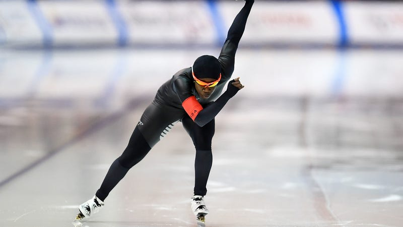 Erin Jackson was an inline speed skater and roller derby player, and now she's skating in the Olympics on ice. Photo by Stacy Revere/Getty Images.