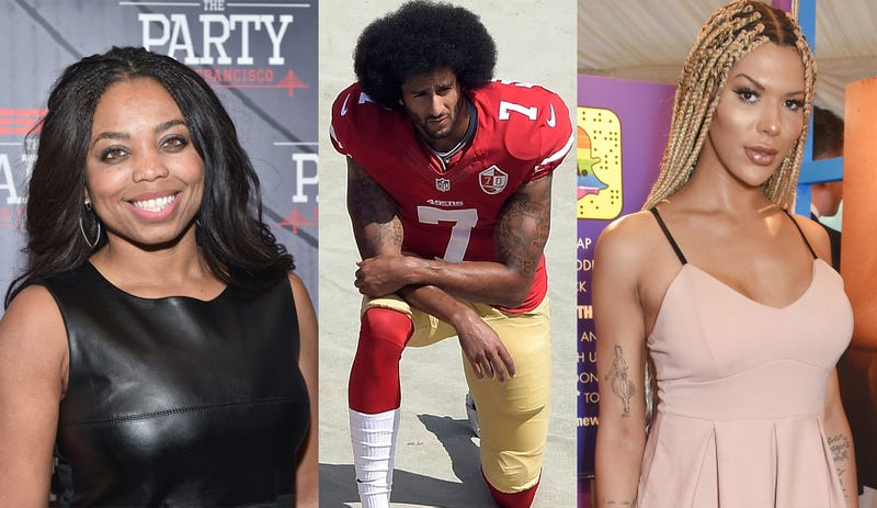 Jemele Hill (Mike Windleson/Getty Images); Colin Kaepernick (Greg Halverson/Getty Images); Munroe Bergdorf (Dave M. Bennett/Getty Images)