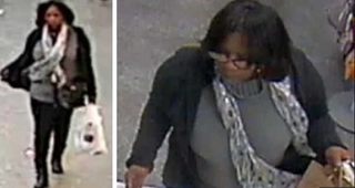 Video images of a woman New York City police say is the suspect believed to be pickpocketing theatergoers waiting in line for the hit Broadway play HamiltonWABC Screenshot