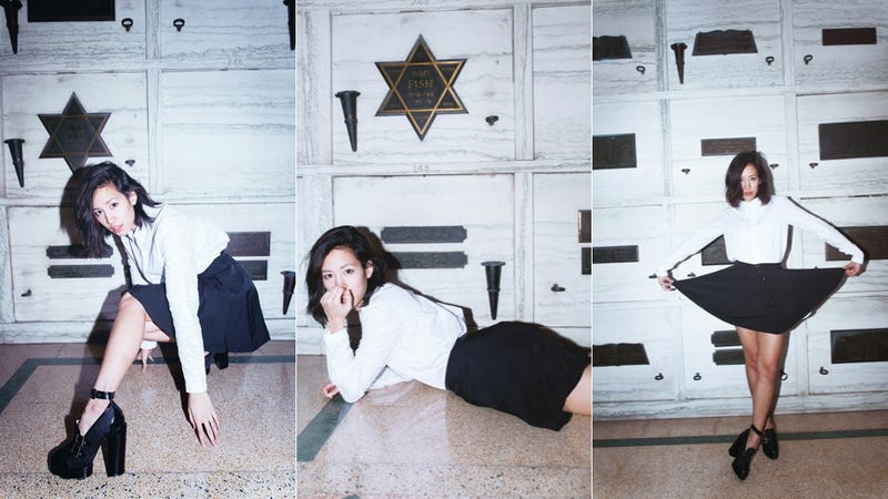 Illustration for article titled Fashion Blogger Stages Stupid Shoot in Jewish Mausoleum [Updated]