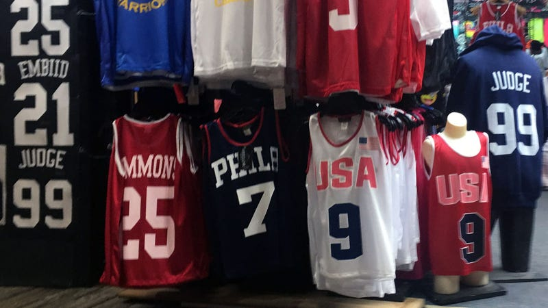 Sixers shirts for sale on the Wildwood boardwalk. (Dan McQuade/Deadspin/GMG)