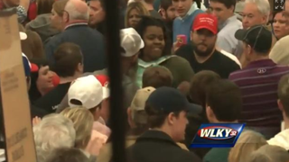 Donald Trump supporters yelled at, pushed and shoved a young black woman out of a Super Tuesday rally in Lousiville, Ky., March 1, 2016.WLKY screenshot