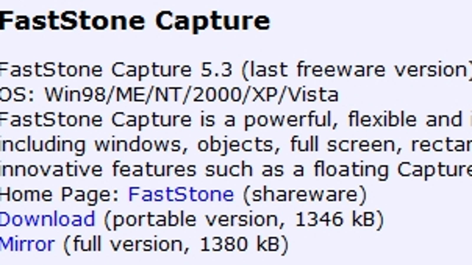 fs capture freeware