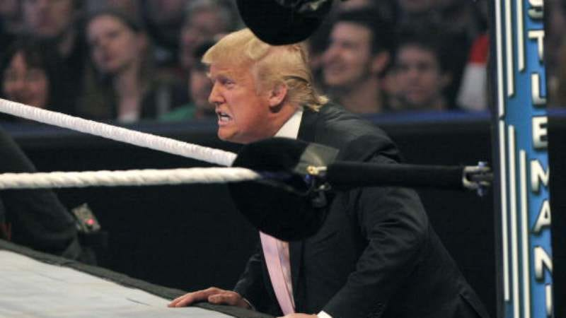 Trump at the 2007 WWE Battle of the Billionaires (Photo: Bill Pugliano/Getty Images)