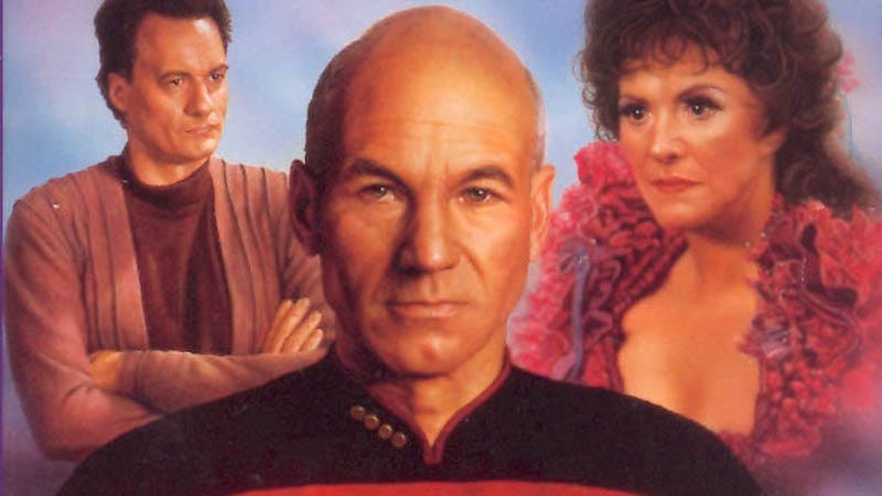 Picard has the face of a migraine given flesh. (Image: Cover of Q-in-Law, Simon and Schuster)