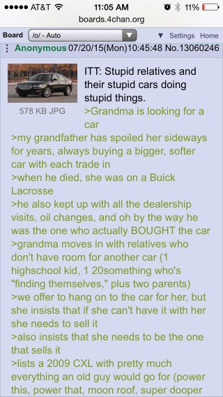 Illustration for article titled Anon's grandma buys a new car