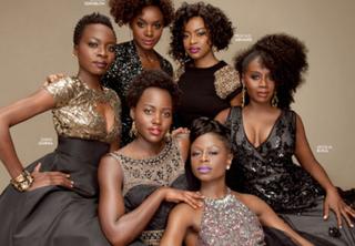 Clockwise from left: Danai Gurira, Saycon Sengbloh, Pascale Armand, Akosua Busia, Zainab Jah and Lupita Nyong'oTwitter
