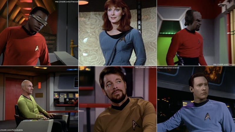 Illustration for article titled The Star Trek: TNG crew looks amazing in Original Series uniforms