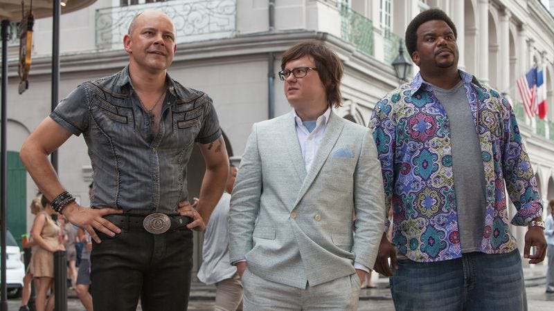 Duke, center, with Rob Corddry and Craig Robinson in Hot Tub Time Machine 2
