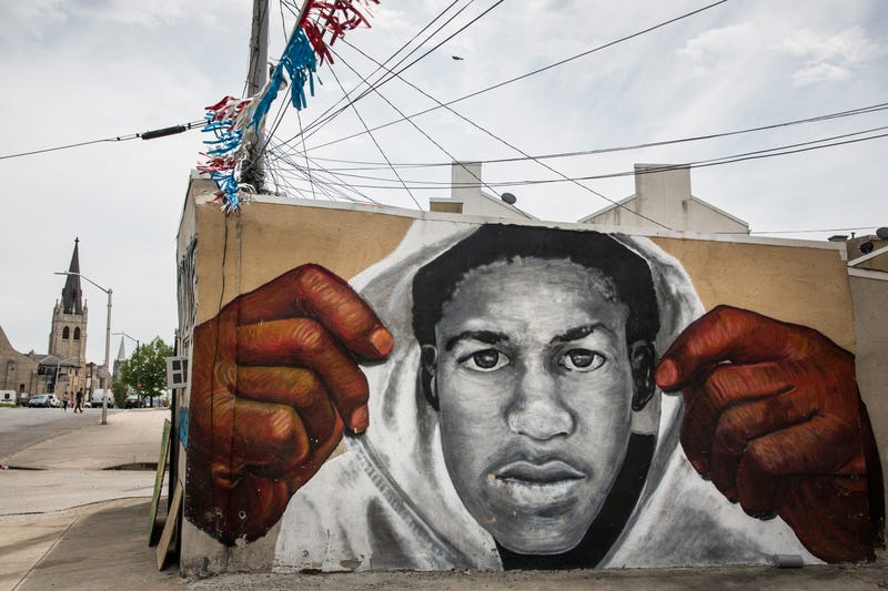 A mural of Trayvon Martin is seen on the side of a building in the Sandtown neighborhood where Freddie Gray was arrested on April 30, 2015, in Baltimore.
