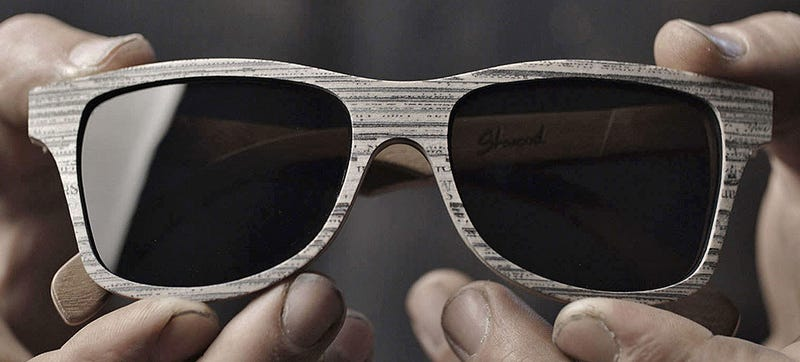 Illustration for article titled These Wood Grain Sunglasses Are Actually Made From Recycled Newspapers