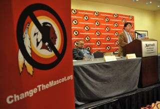 Ray Halbritter, an Oneida Indian Nation representative, speaks at a press conference after meeting with senior officials of the National Football League about changing the mascot name of the Washington Redskins Oct. 30, 2013, in New York.STAN HONDA/AFP/Getty Images