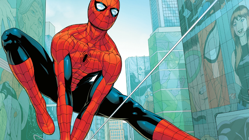 Peter thwipping around in Friendly Neighborhood Spider-Man #1, doing what all friendly neighborhood spiders do.