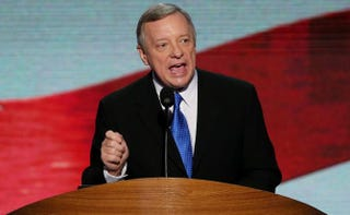 U.S. Sen. Dick Durbin (D-Ill.) speaks on the final day of the Democratic National Convention at Time Warner Cable Arena on Sep. 6, 2012, in Charlotte, N.C. Alex Wong/Getty Images