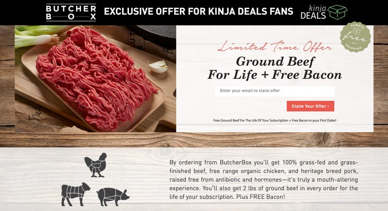 FREE Bacon (First Box) and FREE Two Pounds of Ground Beef (Every Box) With Subscription | Butcher Box