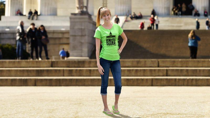 A girl wearing a field trip shirt in Washington, DC.