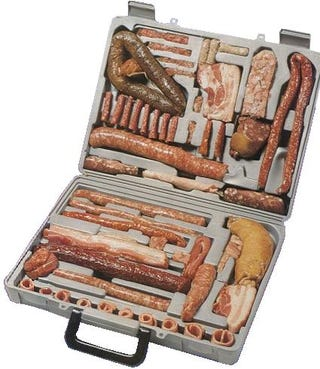 Illustration for article titled Sausage Briefcase: For the Well-Prepared Traveller