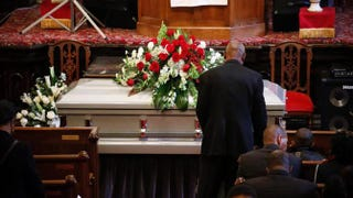 The casket of Akai Gurley is seen during his funeral service at the Brown Memorial Baptist Church on Dec. 6 in Brooklyn, N.Y. Gurley was an unarmed 28-year-old man killed by a New York City City police officer on Nov. 20.Kena Betancur/Getty Images