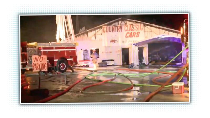massive fire at classic car dealership destroys large number of