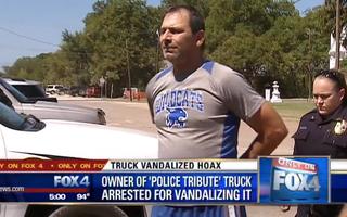 Scott Lattin was arrested on suspicion of vandalizing his own truck.Fox4 screenshot