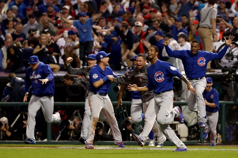 The Chicago Cubs celebrate after defeating the Cleveland Indians 8-7 in Game 7 of the 2016 World Series at Progressive Field on Nov. 2, 2016, in Cleveland. The Cubs win their first World Series in 108 years.Elsa/Getty Images