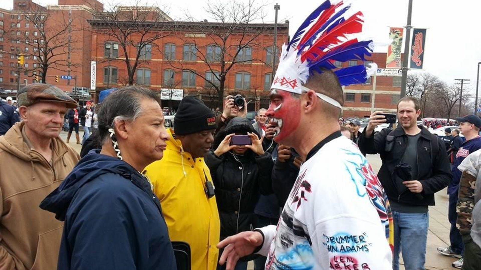 detailed look 549ff 70b29 Cleveland Indians Fan In Redface Meets A Native American