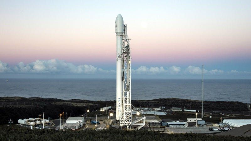 A Falcon 9 rocket ready for launch at Vandenberg Air Force Base in California Image: SpaceX