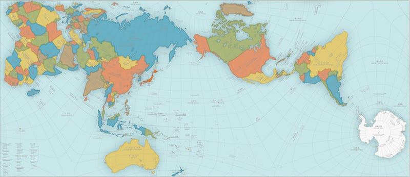 This wacky world map just won japans biggest design award keio university graduate school of media and governance narukawa laboratory cc by nd 21 jp publicscrutiny Images