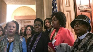 Rep. Sheila Jackson Lee (D-Texas) (left), Marcia Dyson (third from left), Dr. Barbara Williams-Skinner, the Rev. Leslie Copeland Tune, Councilwoman Sheila Tyson and Minister Leslie Watson Malachi stand outside the U.S. Capitol office of Senate Majority Leader Mitch McConnell March 26, 2015. Lauren Victoria Burke