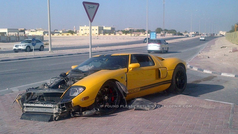 Illustration for article titled This Ford GT was destroyed in a Qatar qrash