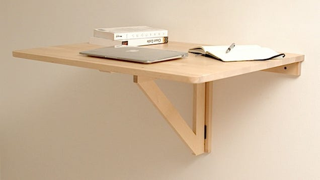 Repurpose a wall mounted folding table as a collapsible for Build your own wall mounted desk