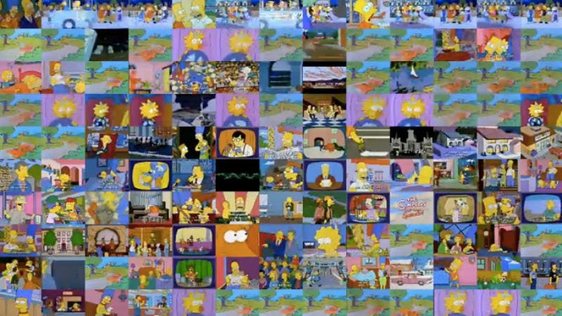 Illustration for article titled 130 episodes of The Simpsons playing simultaneously just because